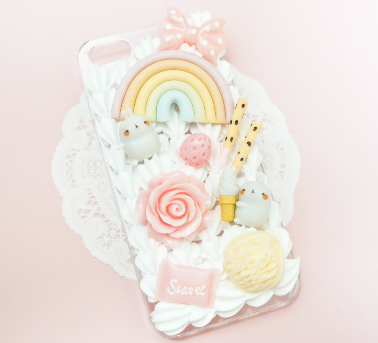 new product a1c72 0e390 MADE TO ORDER Molang Kawaii Pastel Sweets Rainbow Whipped Cream Handmade  Custom IPhone Samsung Decoden Case